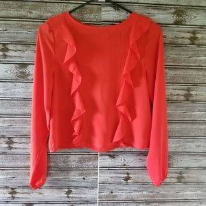 H&M Divided Red Ruffled Blouse Size 4